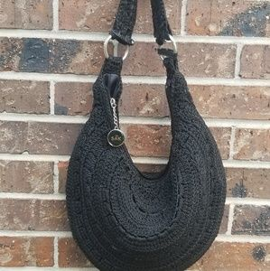 The Sak Black Crochet Hobo